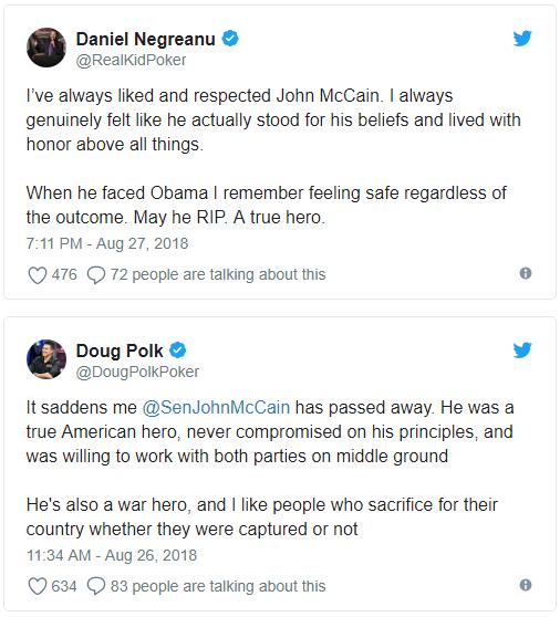 蜗牛扑克:Daniel Negreanu和Doug Polk也有同一立场的时候:John McCain是位真英雄