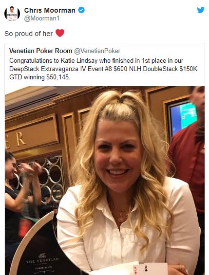 蜗牛扑克:Chris Moorman女友Katie Lindsay取得威尼斯深筹码赛事冠军!
