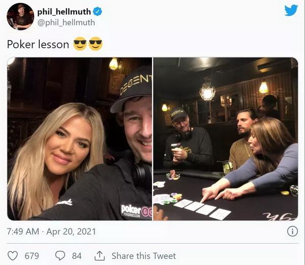 蜗牛扑克:蹭热点?Hellmuth给卡戴珊上扑克课 Polk翻旧账暗讽土豪丹在2018年出售比特币行为