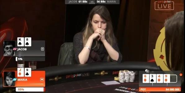 【蜗牛扑克】德州扑克Maria Lampropulos的英雄式跟注