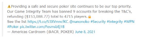 蜗牛扑克:WPN封禁9个机器人账户追回15万刀退款