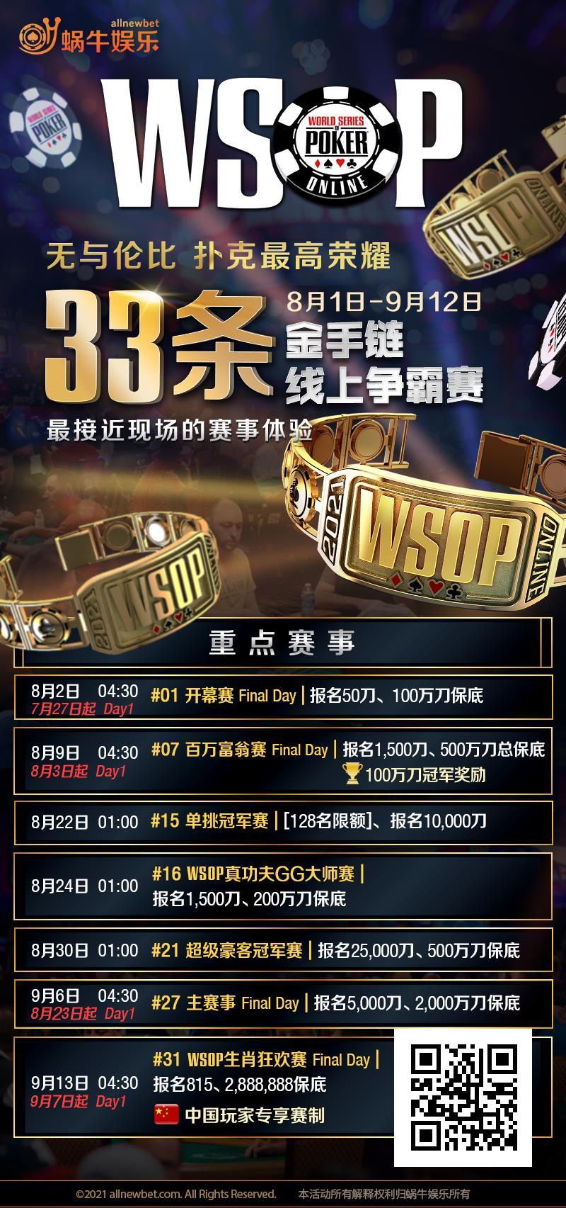 【蜗牛扑克】WSOP金手链本周末抢先起跑,33条金手链线上争霸赛完整赛程表