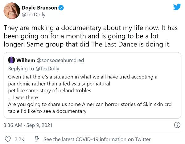 蜗牛扑克:Dolye Brunson纪录片正在火热拍摄中